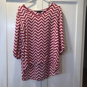 Sheer Chevron Pink/white Shirt